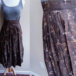 Brown Animal Print Wrap Skirt - Vintage 6 S